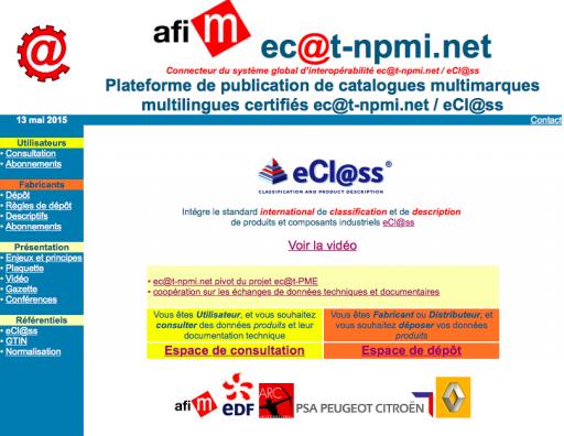 Plateforme de publication de catalogues multimarques multilingues certifiés ec@t-npmi.net / eCl@ss