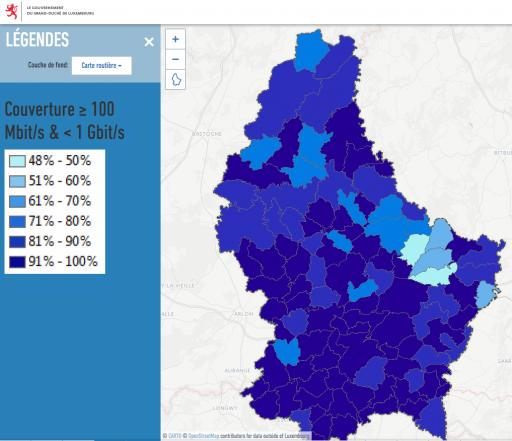 Couverture en haut débit du Luxembourg