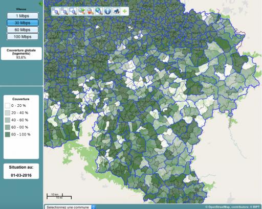 carte haut débit en belgique