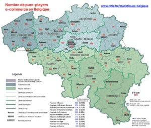 Carte de localisation des e-commerçants belges par arrondissement - chiffres ecommerce Belgique