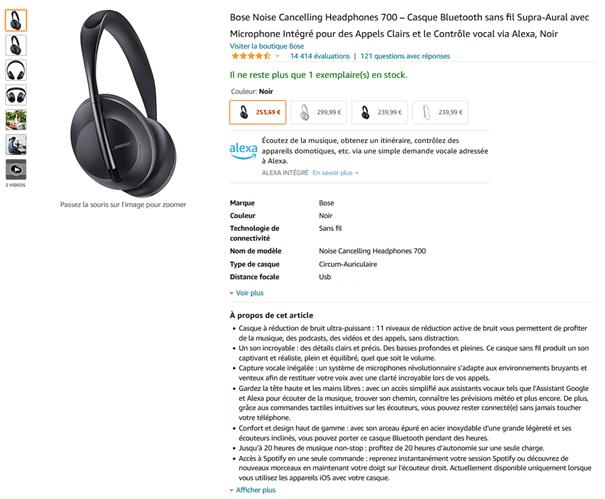 Fiche produit Amazon du casque Headphones 700 de Bose