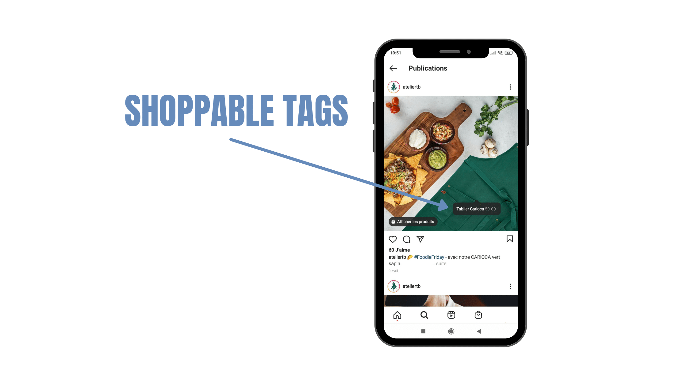 Exemple de Shoppable Tag sur Instagram